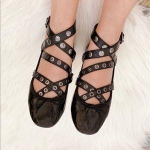 Zara black leather ballerina shoes